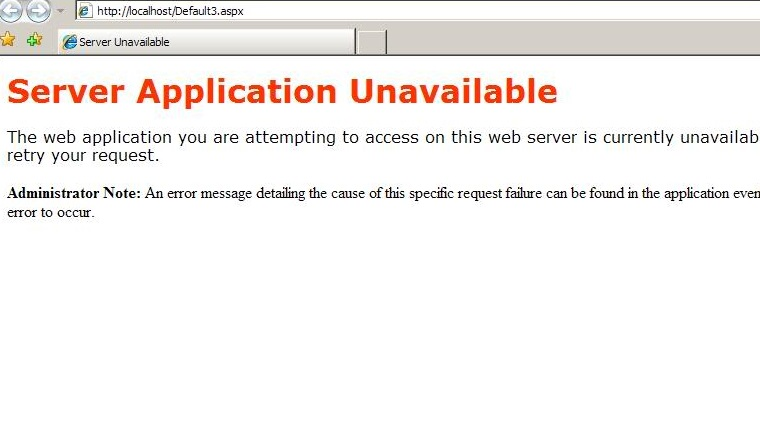 The dreaded Server Application Unavailable IIS error