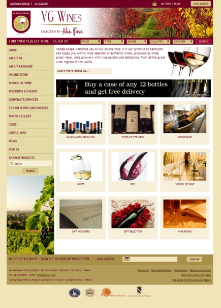 Vanilla Grape Wines goes live using dragnet systems online store software