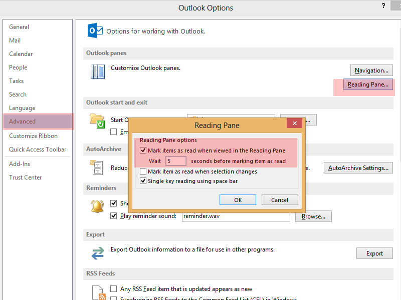 Outlook 2013 mark email as read when viewing in reading pane