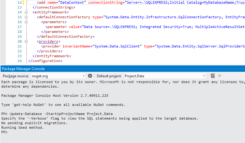 Cure for Entity Framework Migrations could not load assembly error message