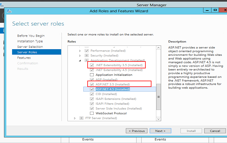 ASP.NET 3.5 websites not running on a newly setup Windows Server 2008