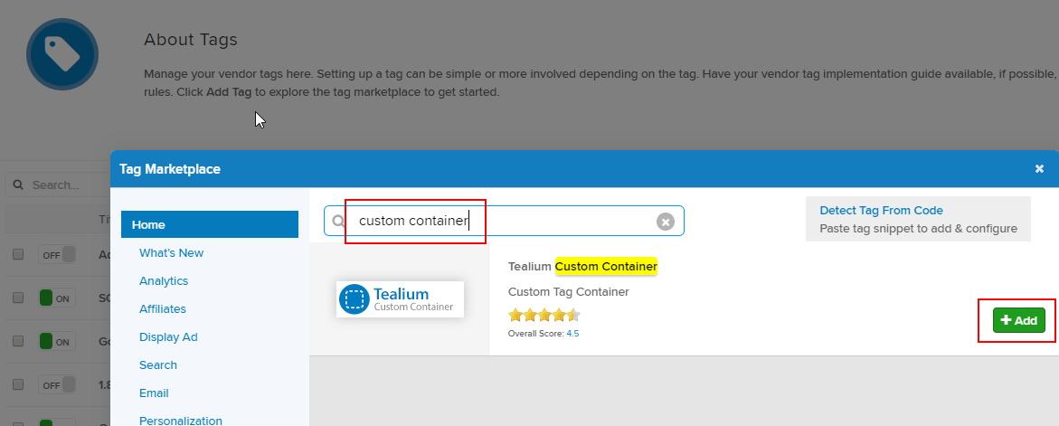 Add Tealium Custom Container